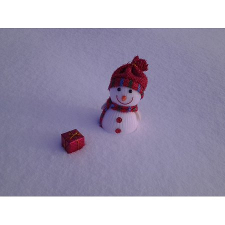Peel N Stick Poster Of Gift Toy Winter Snowman White Red Box Snow Poster 24x16 Adhesive Sticker Poster Print