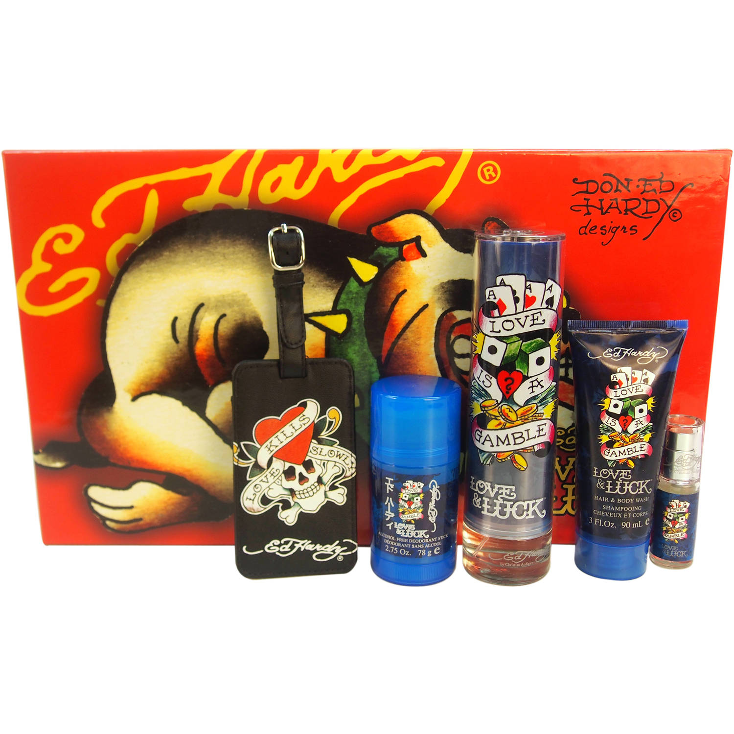 Christian Audigier Ed Hardy Love & Luck for Men Fragrance Gift Set, 5 pc