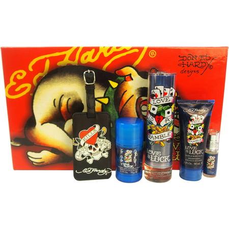 Ed Hardy Love & Luck 5-Piece Fragrance Gift Set (Love And Luck Ed Hardy Gift Set)
