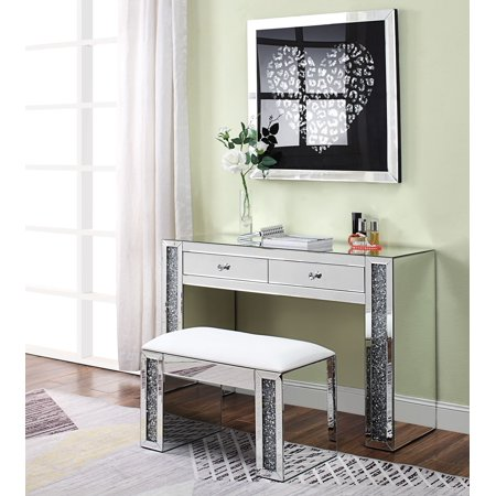 best sneakers 8b53c 50673 Acme Noralie Vanity Desk in Mirrored and Faux Diamonds