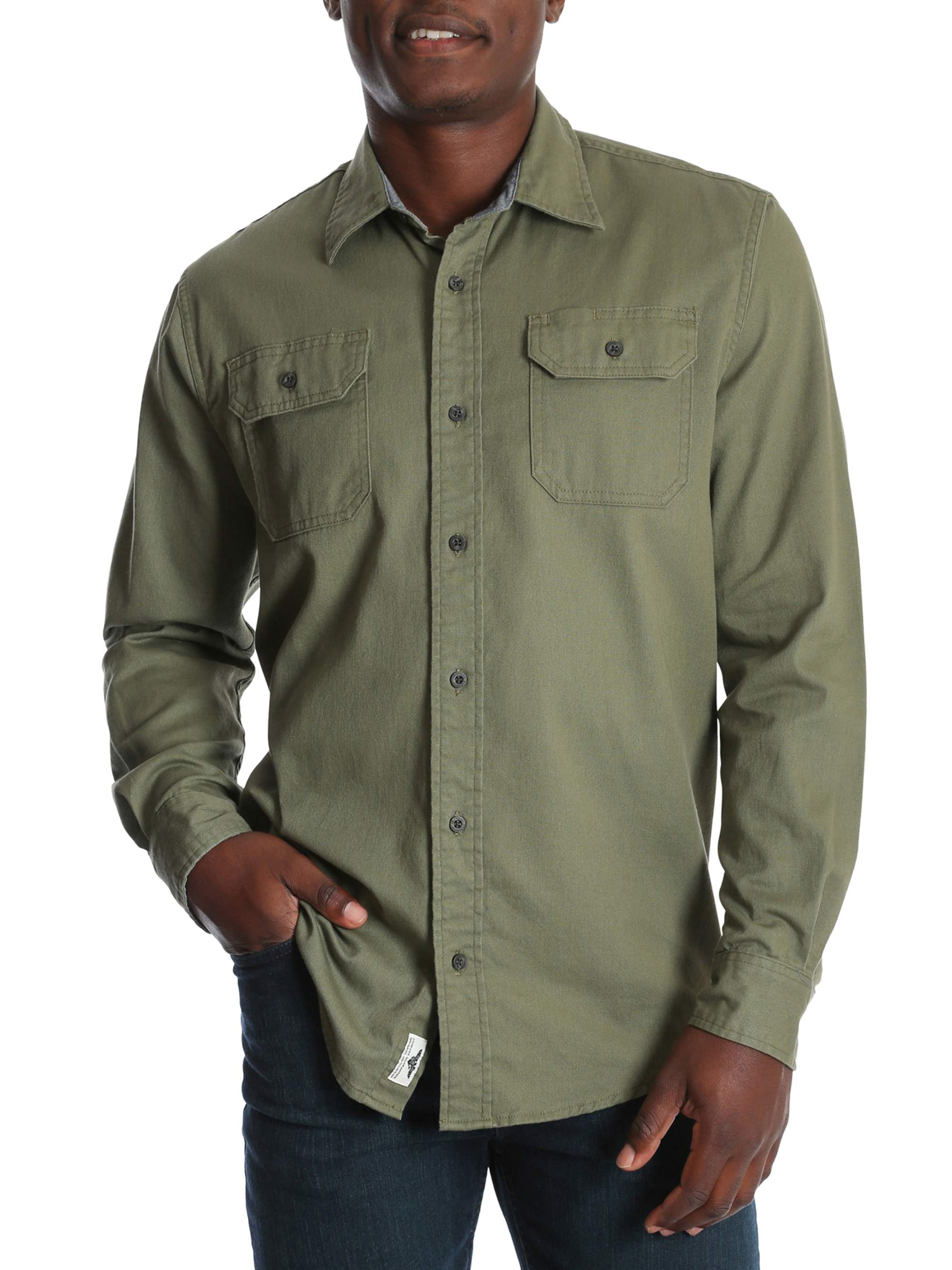 e0d3fa40 Wrangler - Wrangler Men's and Big & Tall Long Sleeve Stretch Twill Shirt,  up to Size 3XLT - Walmart.com