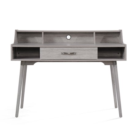 Noble House Adaline Mid Century Modern Fiberboard Home Office Desk, Grey Oak