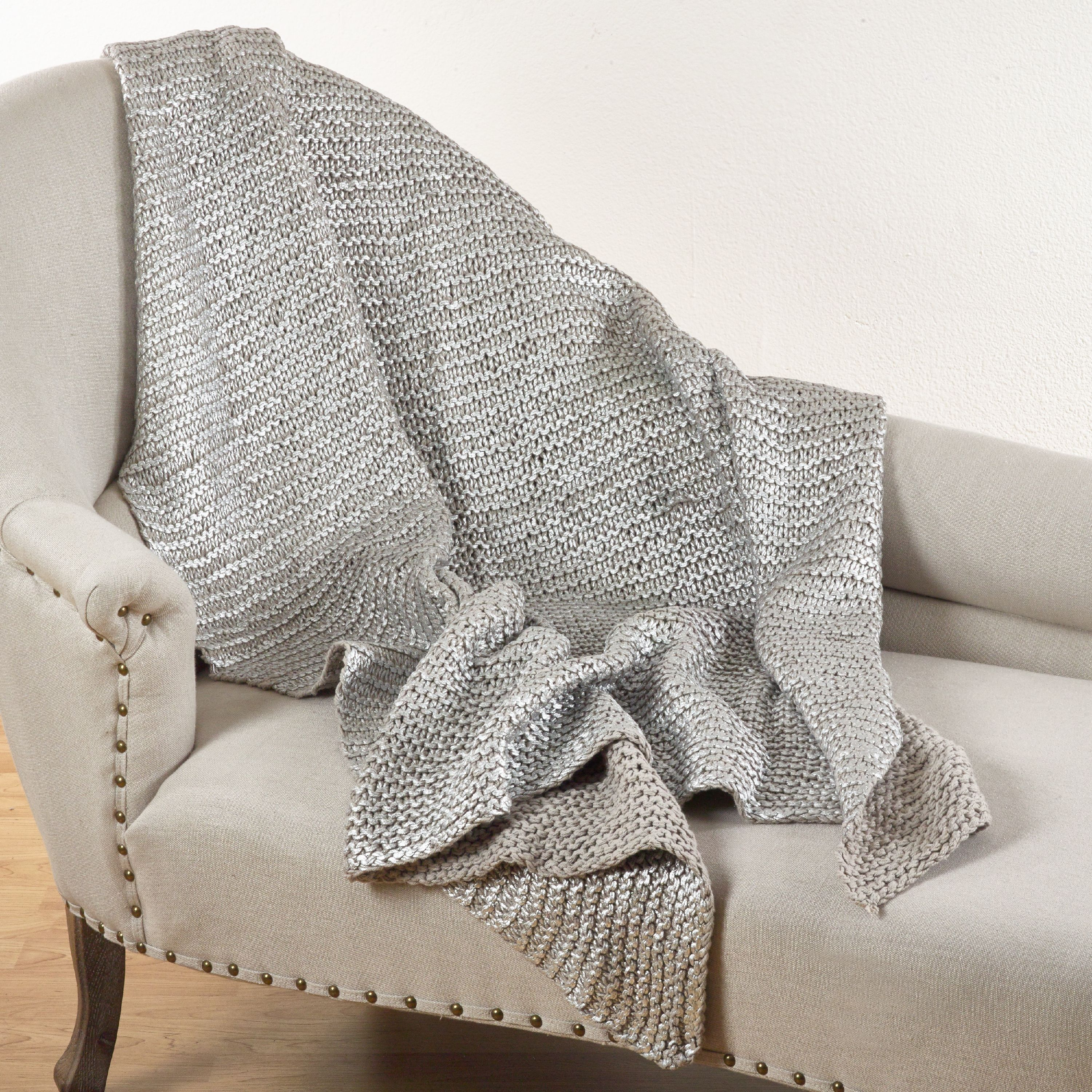 Saro Lifestyle Cassandra Collection Knitted Design Throw Blanket Natural