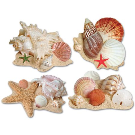 Seashell Four Light - The Beistle Company 4 Piece Seashell Cutouts Wall D cor Set