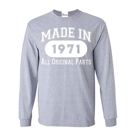 Made In 1971 All Original Parts Long Sleeve Shirt Birthday Shirts