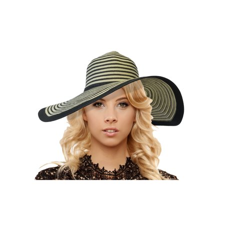 JenniWears Women's Packable Striped Wide Brim Straw Sun Hat With - Coconut Cup With Flower And Straw
