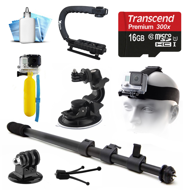 16GB MicroSD Card, Selfie Stick, Car Mount, Head Strap, Floating Float Bobber, Tripod Adapter, Opteka xGrip Action Handle Stabilizer, Dust Removal Cleaning Kit for GoPro Hero4 Hero3+ Hero3 Camera