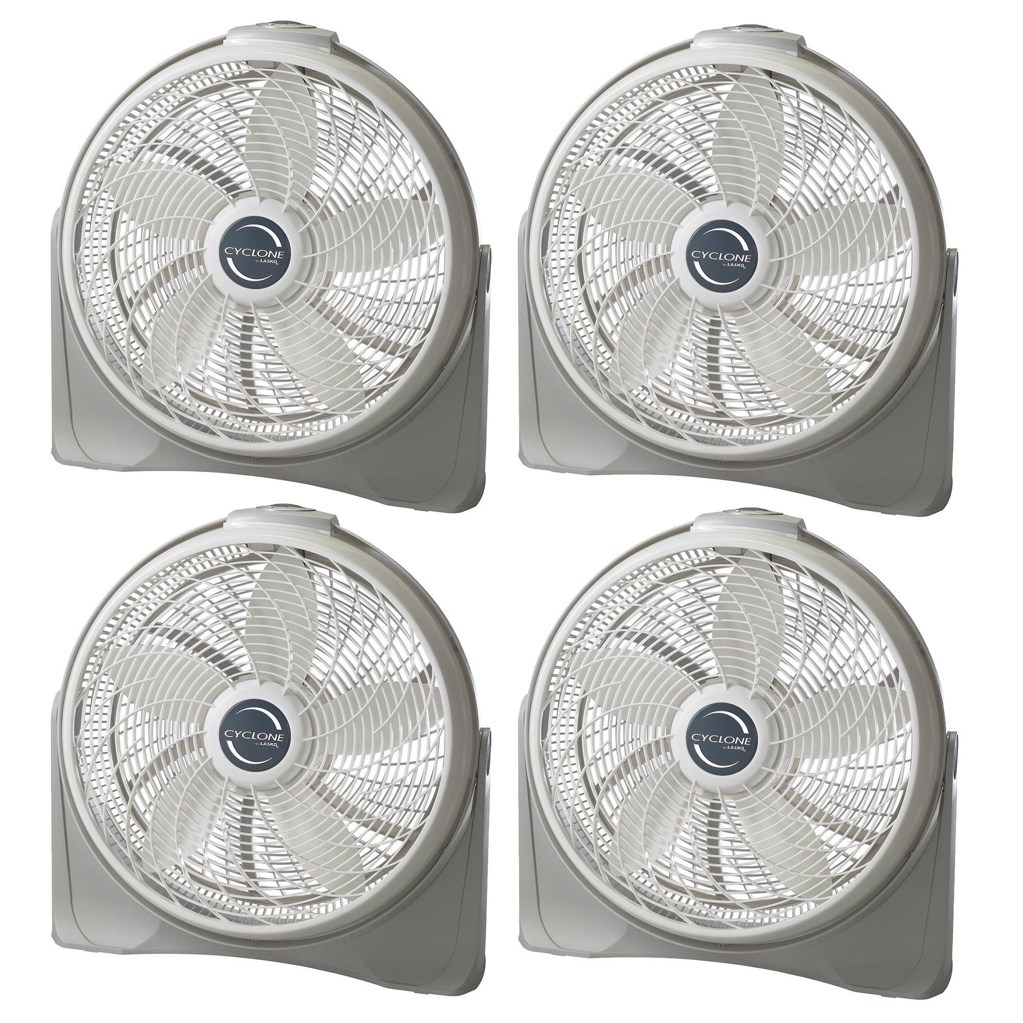 Lasko 20 Inch Cyclone Floor or Wall Mounted Pivoting Fan, White (4 Pack)