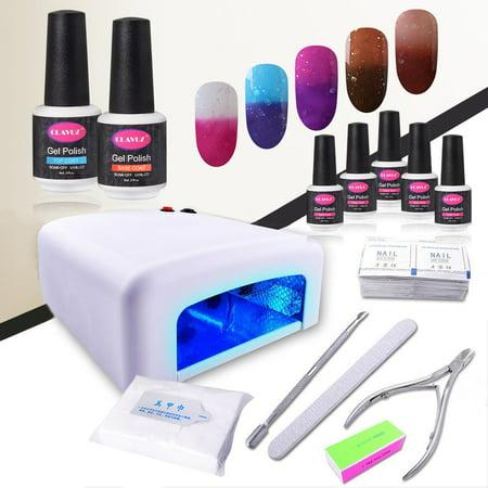 Gel Nail Polish Kit with UV Light CLAVUZ 5pcs Soak Off Gel Nail ...