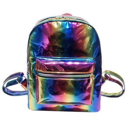 Girl Rainbow Laser Leather School Bag Backpack Satchel Women Trave Shoulder Bag](Rainbow Backpack)