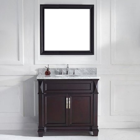 Virtu Usa Victoria 37 Single Bathroom Vanity Set With White Marble Top And Mirror
