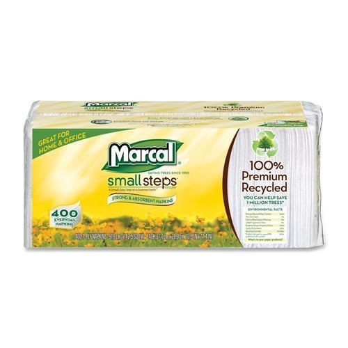 "6506CT Marcal Small Steps Recycled Luncheon Napkin - 1 Ply - 400 Sheets/Pack - 2400 / Carton - 12.50"" x 11.25"" - White - Paper"