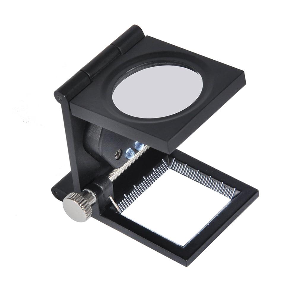 Tebru Cloth Magnifier Folding Metal Linen Tester Cloth 10x Magnifier Printers Loupe W 2 Led Walmart Com Walmart Com