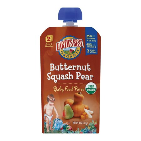 Earth's Best Organic Butternut Squash Pear Baby Food Puree - Stage 2 - Pack of 12 - 4 (Best Pasta For Babies)