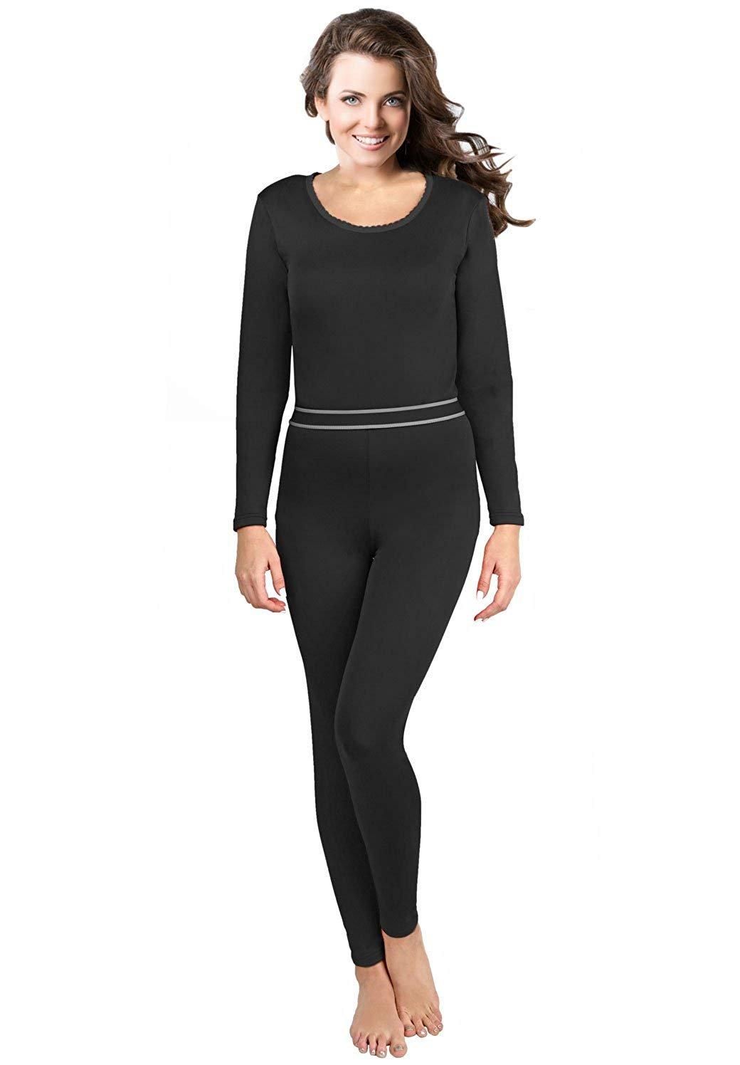 Rocky Women's Thermal Underwear, 2 pc Ultra Soft Warm Fleece Lined Long Johns, Top & Bottom