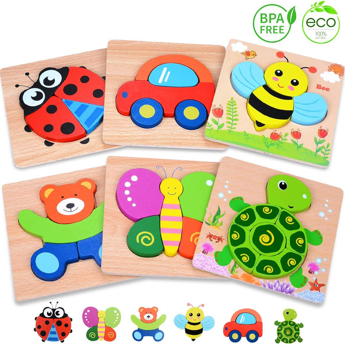 MAGIFIRE Wooden Toddler Puzzles Gifts Toys for 1 2 3 Year ...