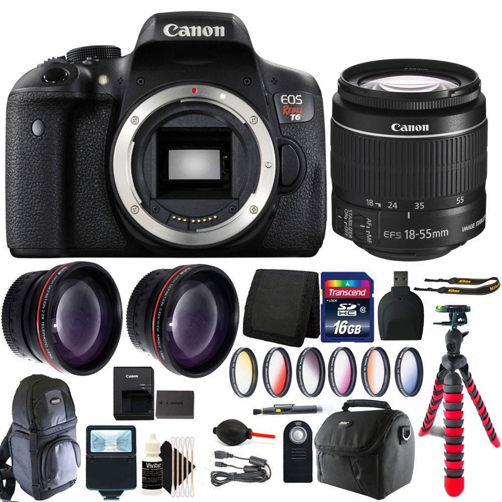 Canon EOS Rebel T6/1300D 18MP DSLR Camera with 18-55mm + ...