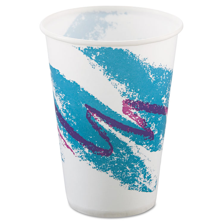 Solo SLOR10NNJ Waxed Coated Paper Cold Cups, 10-oz. Size, Jazz Design, 100 Cups Per Bag, 20 Bags Per Carton