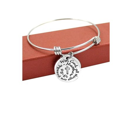 "Sexy Sparkles ""With God all Things Are Possible"" Expandable Wire Bangle Bracelet & Charm Religious Cross"