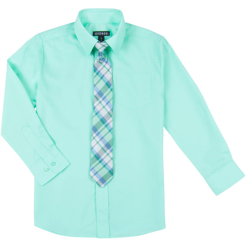 Boys Long Sleeve Solid Broadcloth Dress Shirt and Tie Set - Walmart.com