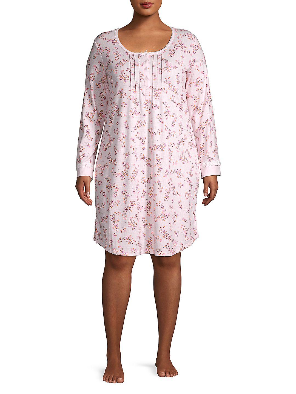 Plus Floral Button Tier Sleep Gown