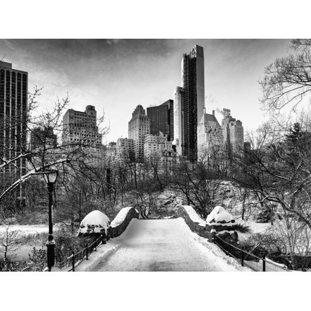 Snowy Gapstow Bridge of Central Park, Manhattan in New York City Print Wall Art By Philippe Hugonnard