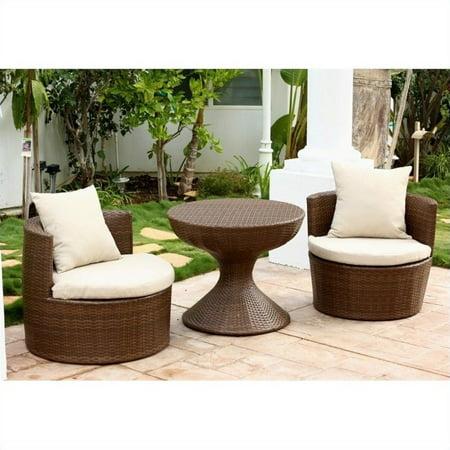 Abbyson Living Palermo Outdoor Wicker 3 Piece Chair Set in Brown - Abbyson Living Palermo Outdoor Wicker 3 Piece Chair Set In Brown