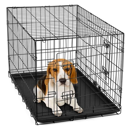 Oxgord 30 heavy duty foldable double door dog crate with for Double door with dog door