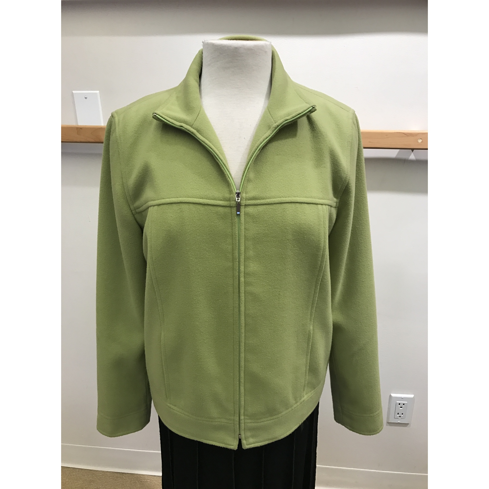 Lime Green Fuzzy Flannel Like Outerwear Jacket Front Zip (Style# 11615)