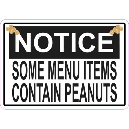 5in x 3.5in Notice Menu Items Contains Peanuts Magnet Magnetic Sign (Peanut Allergy Sign Halloween)