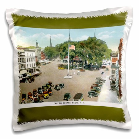 3dRose Central Square, Keene Hew Hampshire Ariel View with Antique Cars - Pillow Case, 16 by
