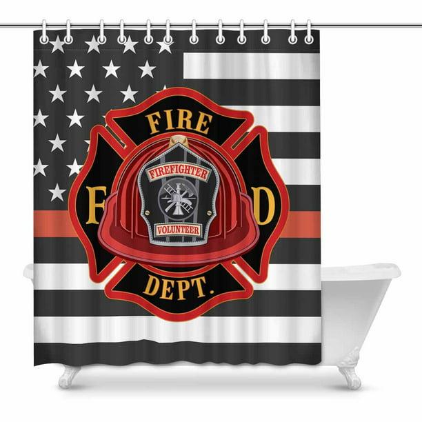 Mkhert Thin Red Line Firefighter Flag Decor Waterproof Polyester Fabric Shower Curtain Bathroom Sets 60x72 Inch Walmart Com Walmart Com