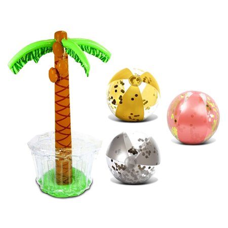 Mozlly Mozlly Value Pack - CoTa Global Inflatable Giant Palm Tree Drink Cooler AND Rose Gold, Gold and Silver Beach Balls Premium Heavy Duty Vinyl Flotation Toy, For Beach, Vacation, UV Resistant (4 I](Inflatable Drinks Cooler)