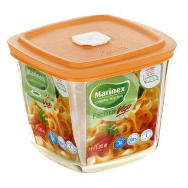 Lancaster Colony SM400072103 Facilita Tall Square Bowl with Color Pl Vented Lid  1 qt  pk 6 st