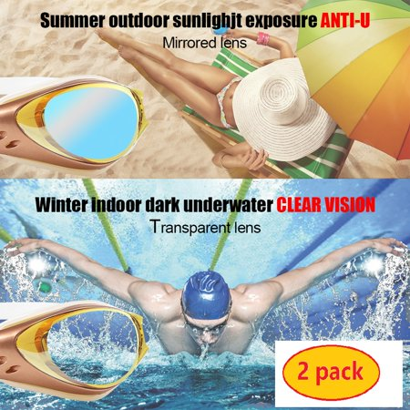 Swimming Swim Gear Swim Goggles, Goggle Mirrored No Leaking Anti Fog UV Protection Triathlon Swim Gear for Adult Men Women Youth Kids Child, with Nose Clip + Ear Plugs (Pack of 2), S10103