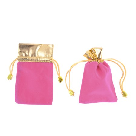 Unique Bargains 2 Pcs Pink Pull String Closure Sleeve Phone Keys MP3 Bag Pouch - Pull String Bags