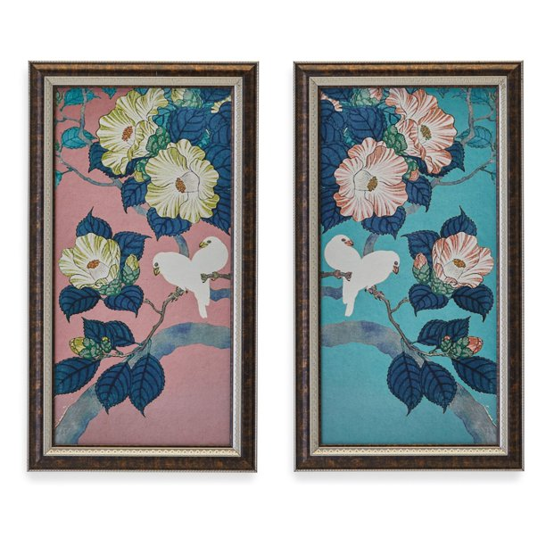 Camilia Birds Wall Art Set Of 2 By Drew Barrymore Flower Home Walmart Com Walmart Com