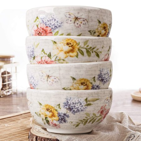 Porcelain Flower Butterfly Meadow Accent Bowl (Set of 4)