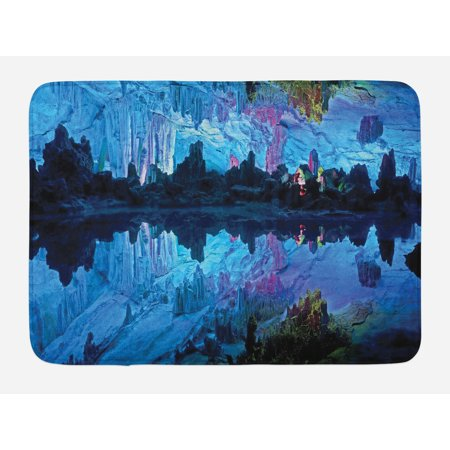 - Natural Cave Bath Mat, Illuminated Reed Flute Cistern with Artifical Crystal Palace Myst Cave Image Print, Non-Slip Plush Mat Bathroom Kitchen Laundry Room Decor, 29.5 X 17.5 Inches, Blue, Ambesonne