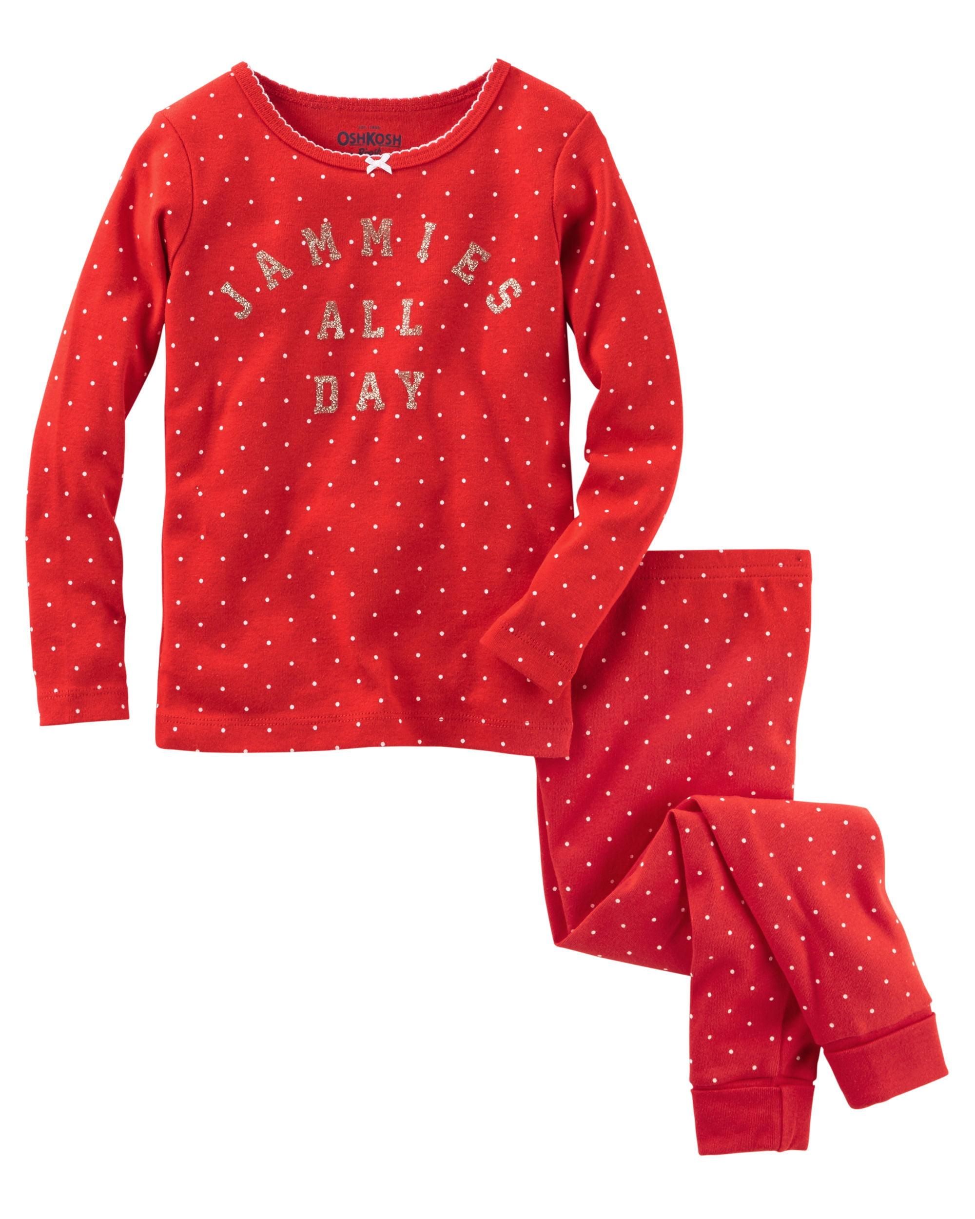 OshKosh B'gosh Little Girls' 2 Pc Sparkle Jammies All Day Pajama Set, 3-Todder