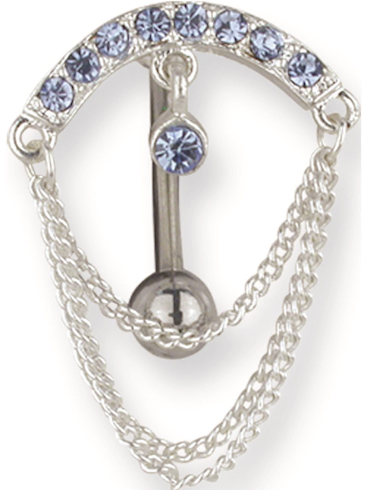 11mm Curv top dangle BB w 5mm 1.6mm Jewelry by Sweet Pea SGSS Curv BB w Chain Drop Dangles 14G