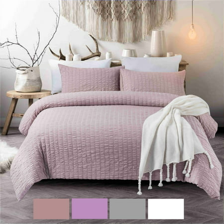NC Home Fashions 3-Pieces Seersucker Duvet Cover Set, Queen- for Comforter/Quilt/Blanket, with Zipper & Corner Ties-Luxurious, breatable and Ultra soft (Queen, Rose Pink)