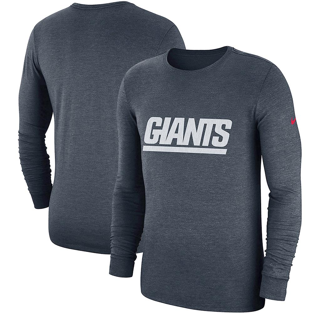 New York Giants Nike Fan Gear Crackle Historic Tri-Blend Long Sleeve T-Shirt - Navy