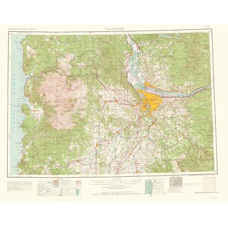 Topographical Map - Vancouver Washington, Oregon Quad - USGS 1964 - on washington state marine map, washington state soccer field, washington state mapquest, washington state water map, washington state plat map, washington state elevation map, washington state aerial, washington state map map, washington state trails map, washington state access, washington state campsites, washington state map printable, washington state highway map, washington state road map screen size, washington state length, washington state boundary map, washington state lidar mapping, washington state google map, washington state description,