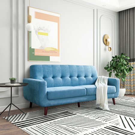 """Love Seats Clearance, 79"""" Sectional Sofa and Couch with Solid Wood Frame and Legs, Tufted Polyester Fabric Bedroom Living Room Office Furniture Mid Century Modern Couch, Holds 660 lbs, Blue, Q4957"""