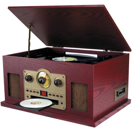 Sylvania Srcd838 Nostalgia 5-in-1 Turntable/CD/Radio/Cassette Player with AUX Input
