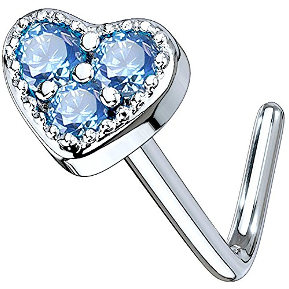 Sterling Silver Nose Stud Pin Ring L Shape Aqua CZ Crystal Cross 20g 20 gauge