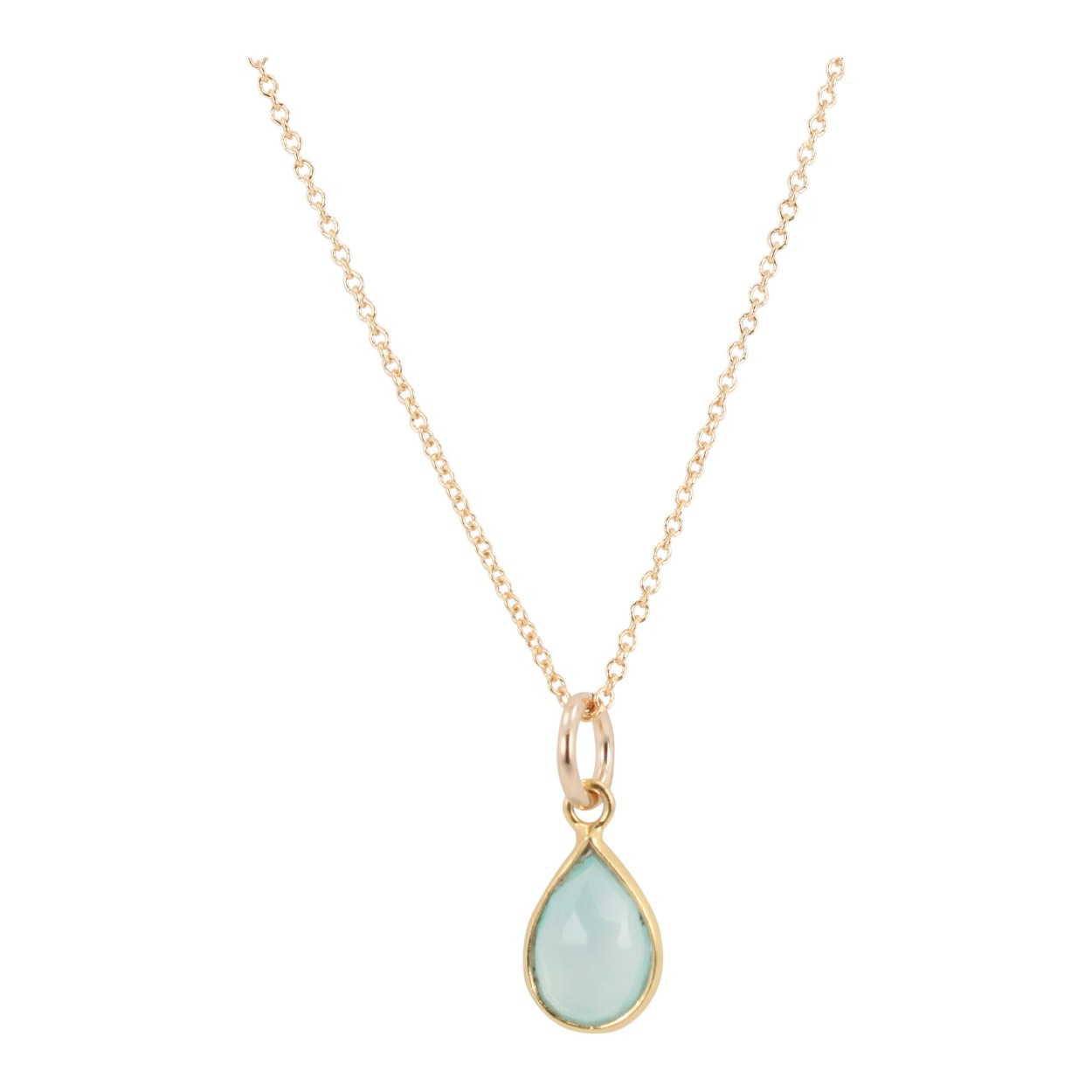 Teardrop Gemstone Necklace in Gold, #6334-yg (Aqua Chalcedony) by