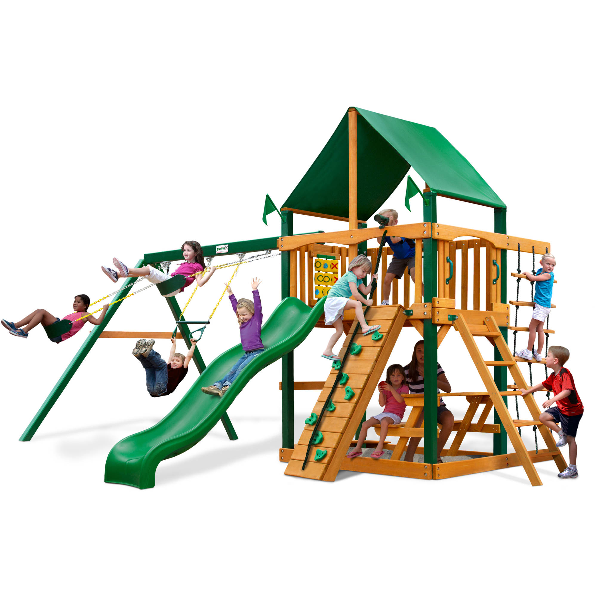 Gorilla Playsets Chateau Deluxe Cedar Wooden Swing Set