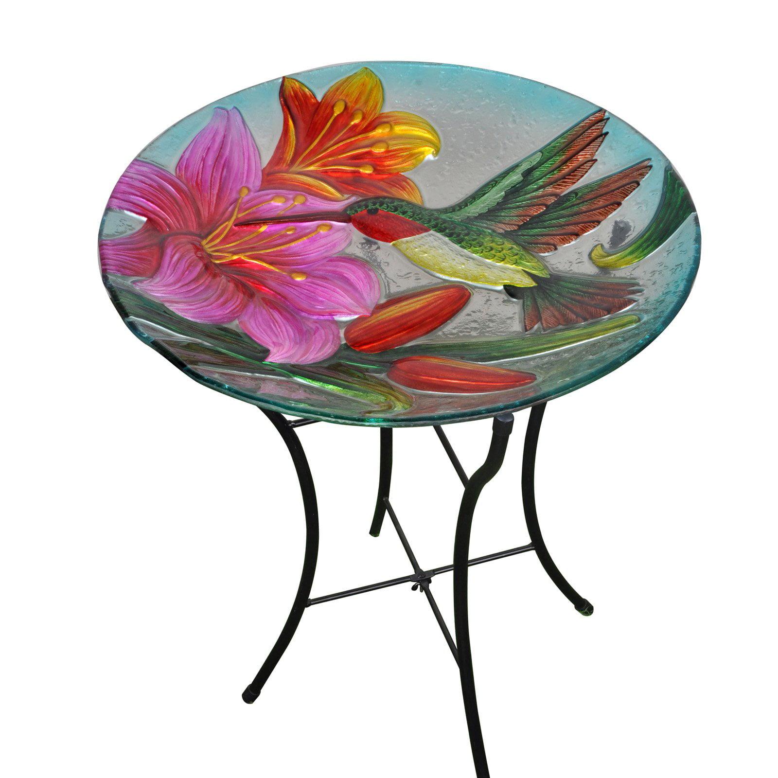 Peaktop Outdoor 18-Inch Hummingbird Fusion Glass Birdbath by Teamson Design Corp.